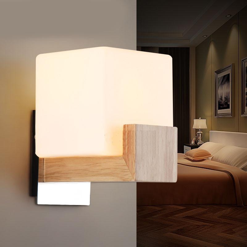 Oak Wood Gl Bedside Wall Mounted Lamp Single Head Washroom Mirror Light Stair E27 Bulb In Lamps From Lights Lighting On