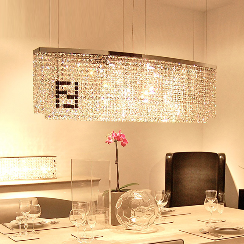 100% Crystal Novelty F Rectangular Chandelier Crystal Candelabro Lustres Dining  Room Curve Crystal Chandeliers Hot Sale K9 LED Part 54