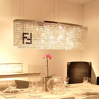 Eetkamer 100% K9 kristal licht Zwart F Rechthoekige kristallen kroonluchter candelabro Curve hotel villa moderne verlichting lustres