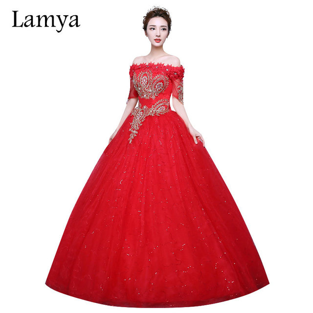 Amazing LAMYA Louxious Gold Embroidery Short Lace Red Wedding Dress 2018 Vintage  Cusomizable Bridal Gowns Vestido De