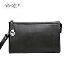 BAQI Brand Men Wallets Clutch Bag Genuine Leather Cowhide Handbags High Quality 2019 Fashion Ipad Card Holder Casual