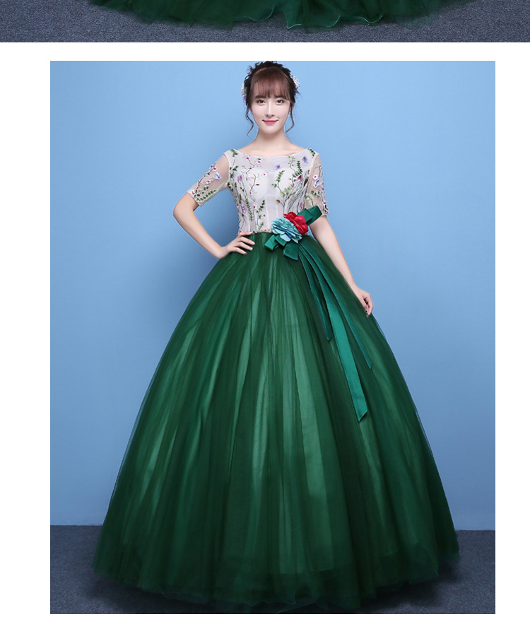 100%real luxury dark green leaf flower embroidery beading princess ball  gown medieval dress victoria belle ball on Aliexpress.com  a2635ea84c02