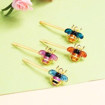 ¡Novedad de 2018! Pasador de pelo mt002 Color rosa azul esmaltado de cobre con forma de abeja e insecto, accesorios de joyería para mujer, venta al por mayor