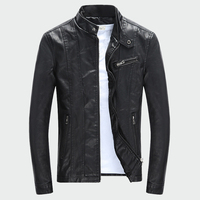 Для мужчин искусственная (-ый) Куртки осень-зима мотоциклетные байкерские Искусственная кожа куртка Мужская толстый бархат пальто M-3XL ML007
