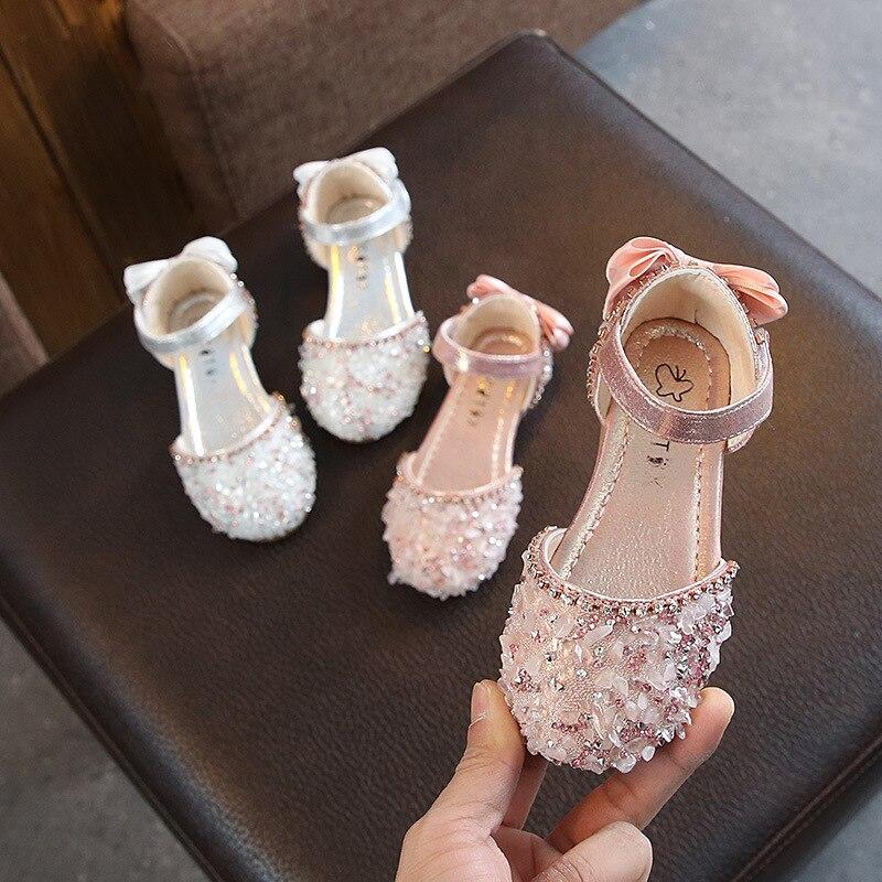 Girls Sandals Silver Glitter Shoes