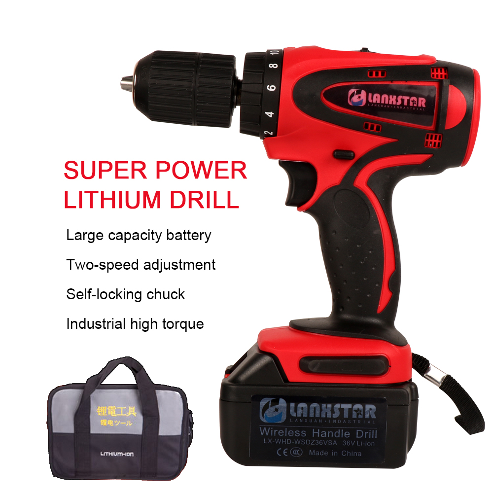 LANXSTAR 36V High-power Cordless Drill with High-capacity Rechargeable Lithium Battery Wireless Electric screwdriver Power Tool