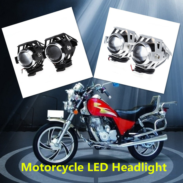 2Pcs 125W Motorcycle Headlight 2 Color Harley Headlight Waterproof LED Fog Light 3000LM U5 Motorbike Driving Spot Head Lamp