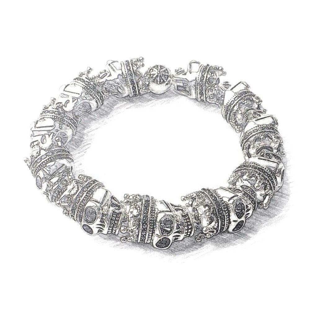 Vintage Skulls King Beads Elastic Bracelets For Women Men Boy,2019 New Punk Rebel Karma Fashion Jewelry Gift Heart Gift Bijoux