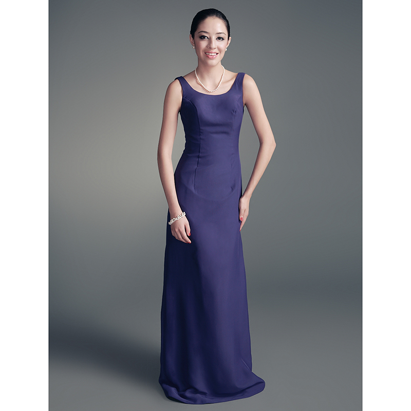 LAN TING BRIDE Sheath Column Scoop Neck Floor Length Chiffon Satin Mother of the Bride Dress with Crystal Brooch