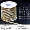 7 Sizes Crystal 10 Yards Densify Rhinestone Cup Chain With Golden Base Strass Bright For Clothes Wedding Dress And DIY Desig