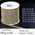 7 Tamaños de Cristal 10 Yardas Densify Rhinestone Cadena de la Taza Con Base de oro Strass Brillante Para La Ropa Vestido de Novia Y BRICOLAJE Desig