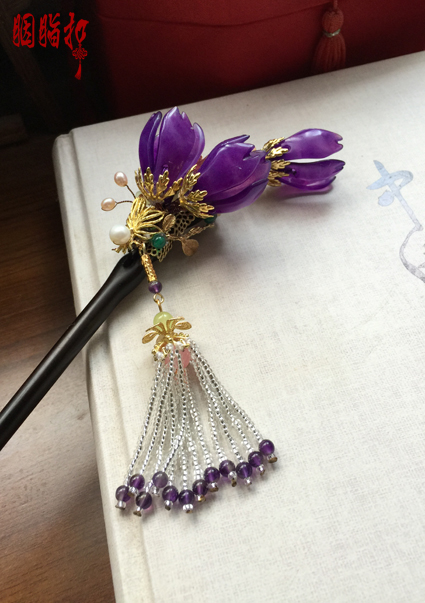 Sandalwood Purple Jade Lily Magnolia Hair Stick Vintage Chinese Handmade Hair Jewelry Hanfu Cos Hair Accessory