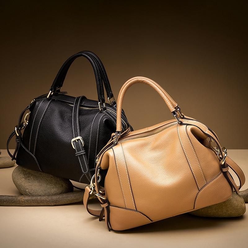 HMILY Frauen Handtaschen Aus Echtem Leder Weibliche Boston Taschen Rindsleder Designer Damen Messenger Lesen Leder Schulter Tasche-in Taschen mit Griff oben aus Gepäck & Taschen bei  Gruppe 2