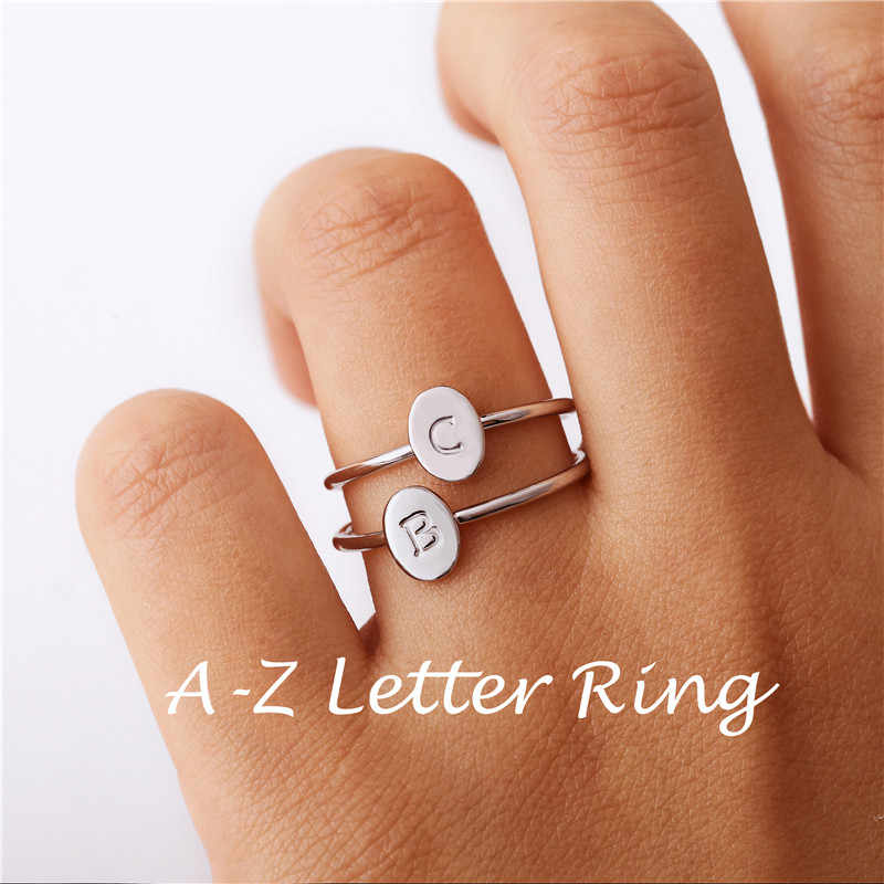 Personalized Engraved Stackable Tiny Oval A-Z Letter Ring Hand Stamped Minimalist Initial Rings for Women Initial Jewelry