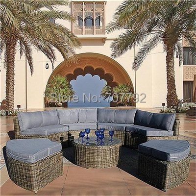nueva llegada muebles de exterior curvo mayfair modular unidades rattan sofa set