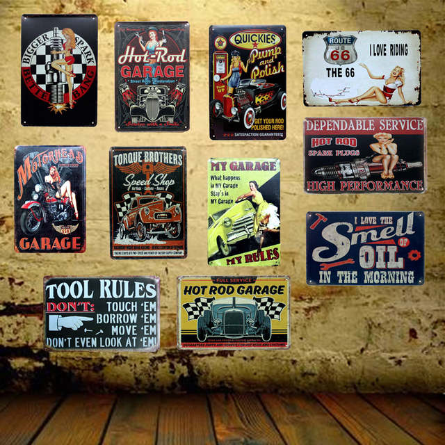 Garage Motor Oil Wall Sign Metal Plaque Iron Painting Retro Bar Friend Home 20×30 Cm Fg-2