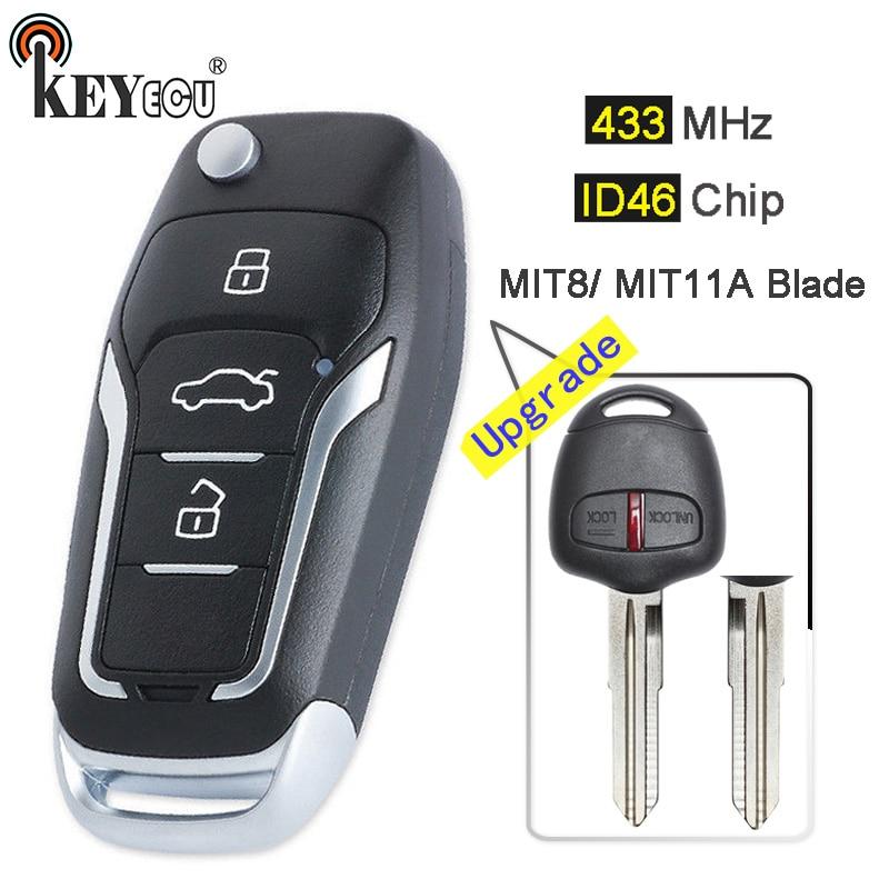 KEYECU 433MHz ID46 Upgraded Flip 2 Button Remote Key Fob For Mitsubishi Pajero, Lancer & Outlander Left/ MIT11R Right Blade