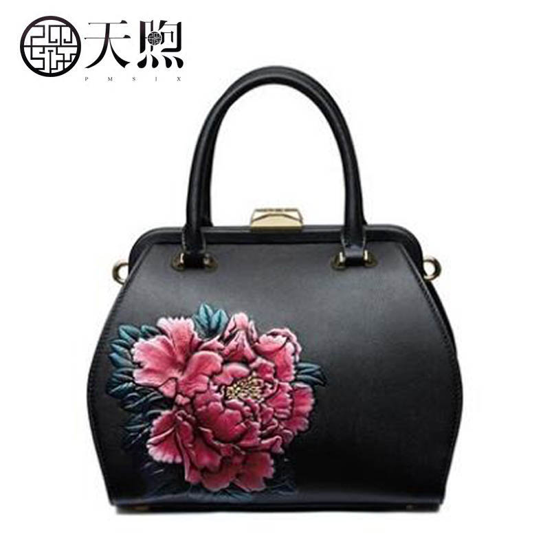 Pmsix 2019 New Women Genuine Leather bag top Cowhide quality handbags Fashion Embossing bag Luxury women handbags leather bagPmsix 2019 New Women Genuine Leather bag top Cowhide quality handbags Fashion Embossing bag Luxury women handbags leather bag
