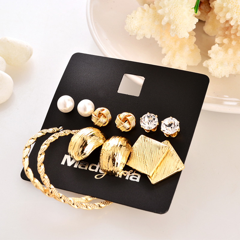 Marte & Joven Nova moda 6 parova naušnica setovi zlatne boje legure - Modni nakit - Foto 2