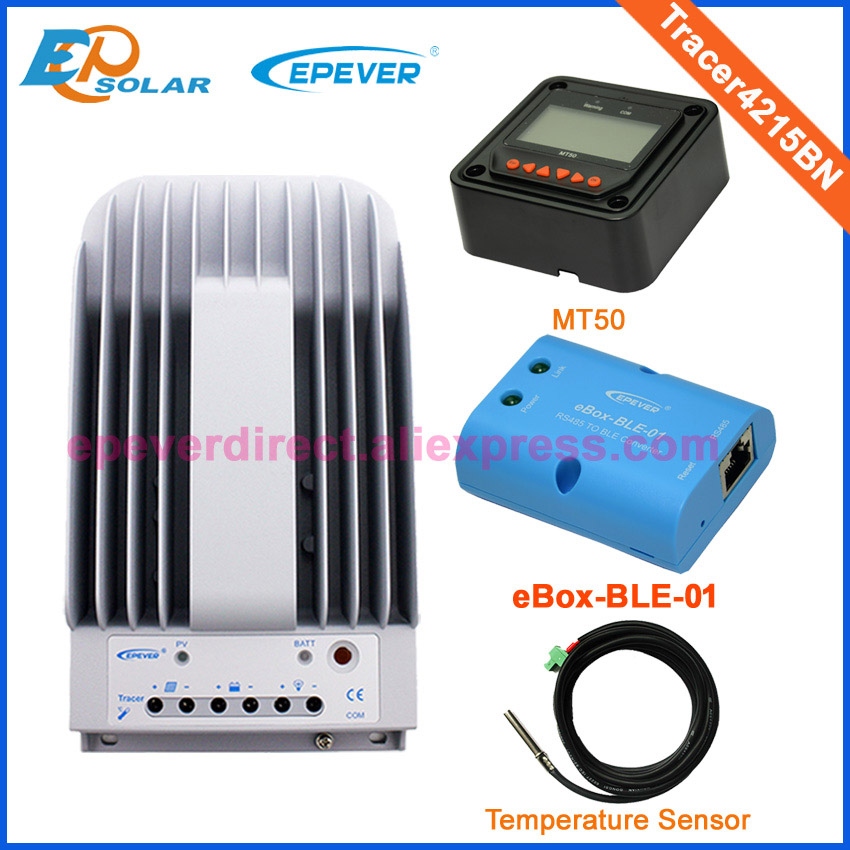 12v 24v auto work mppt solar power bank controller Tracer4215BN EPEVER bluetooth function temperature sensor and MT50 meter sm206 solar power meter for solar research