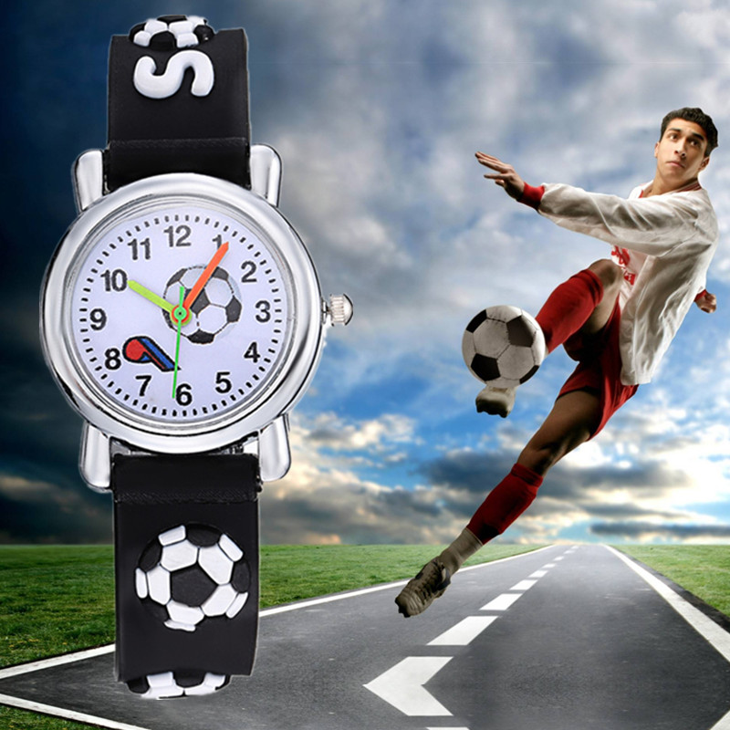 TMC#469 New Stylish 3D Cartoon Silicone Football Saats Kids Watch Children Boys Students Quartz Wristwatches Dropshipping