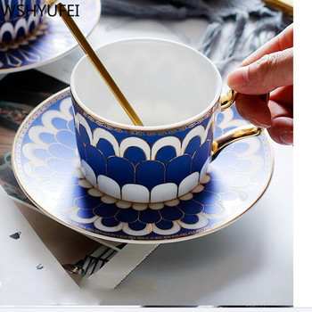Wourmth Bone Porcelain Afternoon Tea Cup And Saucer Set Ceramic Coffee Cup With saucer Stainless Spoon 220ml Home Drinkware фото