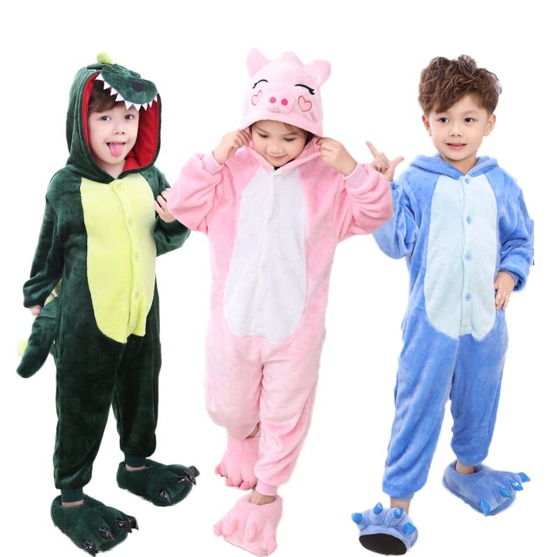 Baby Boys Girls Pajamas warm Winter animal Stitch pig Pajamas for Kids pijamas Kid Clothes Cute pyjamas Hooded Romper Sleepwear