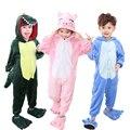 Muchachas de Los bebés Pijamas Invierno cálido Puntada animales cerdo Pijamas para Niños pijamas Ropa Del Cabrito Lindo pijamas Encapuchados Mameluco ropa de Dormir