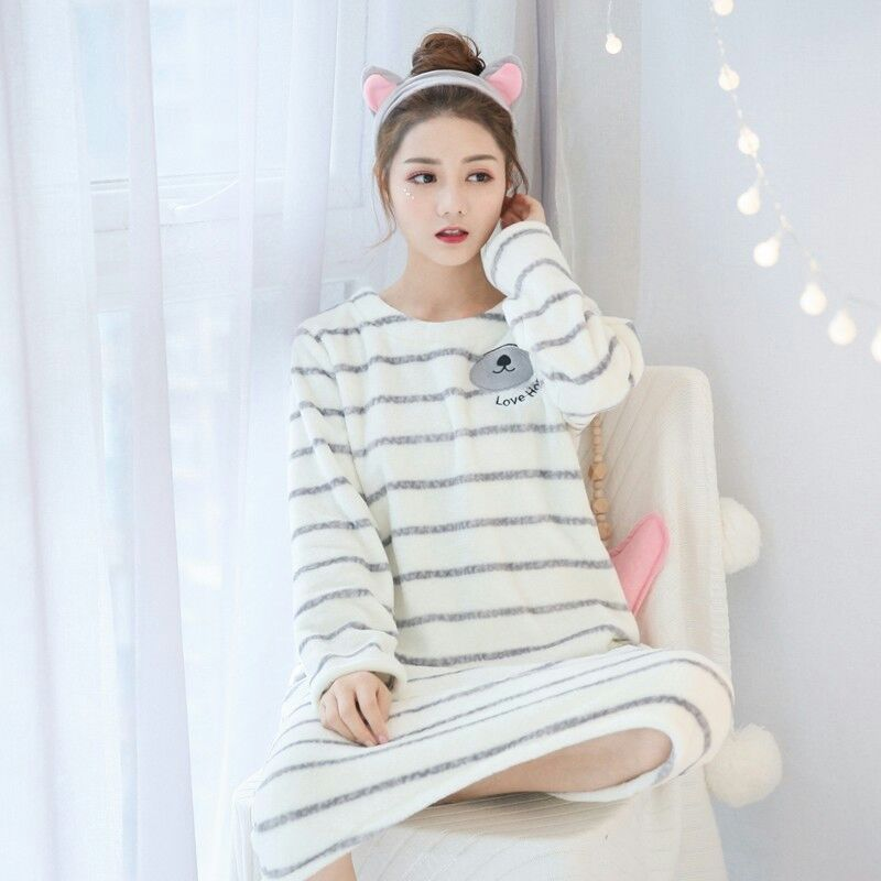 New nightdress female winter long-sleeved Striped Flannel   Nightgowns   sweet loose home   Sleepshirts   long sleeve   nightgown