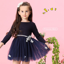 Girls Dresses 2019 New Fashion Princess Clohting Net Yarn Dress Pentagram Waistband Decoration Ball Gown For 3-7Y
