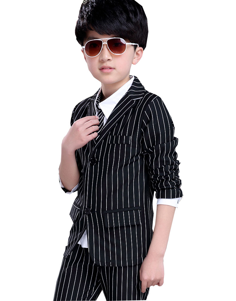 kids 2018 New England boy suit spring striped suit small children Full Striped cotton two-piece suit 3-12 years old kocotree suit for 3 12 years old children unisex cap scarf gloves winter warm three piece sets