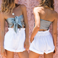 66aaeaaabca lessverge Sexy satin bow crop top Off shoulder solid casual cami tube top  Vest summer female