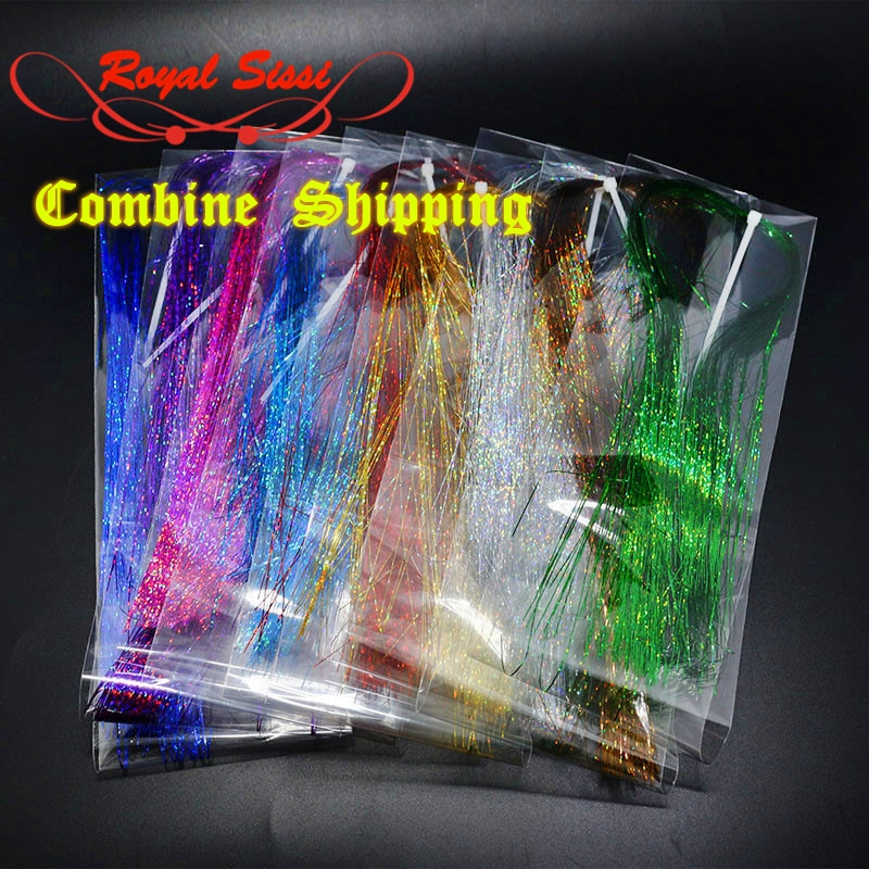 9 colors Flashabou Tinsel colorful Flat Glittering Crystal Flash Tinsel Hair Fibers Fly Fishing Flies Tying materials for Nymph weed science principles and application