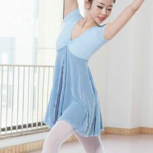 Image 1 - 새로운 성인 현대 무용 발레 복장 짧은 소매 Leotards ards 여자 체조 메쉬 춤 옷 발레 훈련 performanmanc