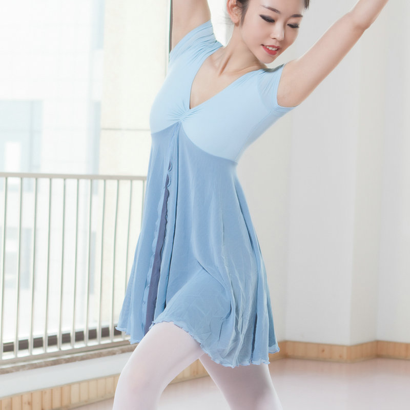 New Adult Contemporary Dance Ballet Dress Short Sleeve Leotards Woman Gymnastics Mesh Dancing Clothes Ballet Training Performanc