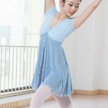 Nowa dorosła współczesna sukienka baletowa z krótkim rękawem trykoty kobieta gimnastyka Mesh taniec ubrania balet trening Performanc