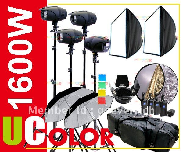 1600W Strobe אולפן אור ערכת אור תאורה צילום - מצלמה ותצלום