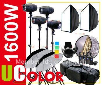 1600W Strobe Studio Flash Light Kit Lighting Photography Fan Cooled Set