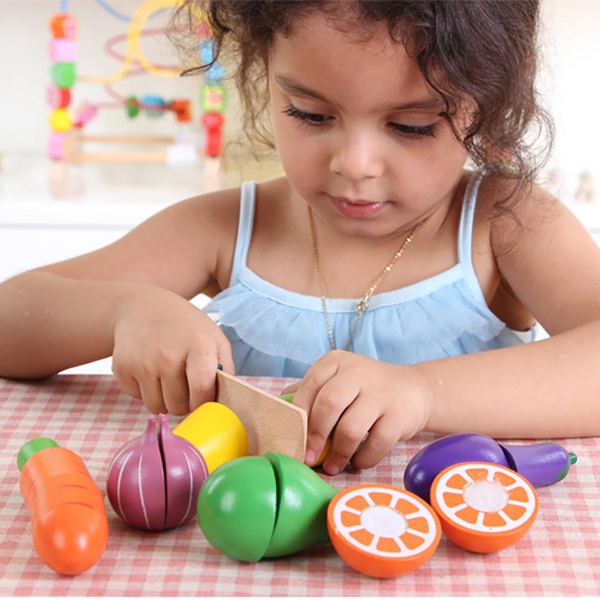 Jouets de cuisine en bois coupe Fruits légumes semblant jeu de nourriture pour enfants filles garçons jouets de développement des compétences éducatives