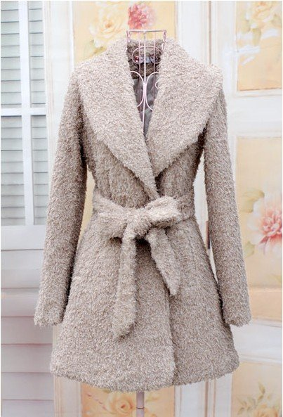 women coat, warm winter women rayon coat, warm cotton lining, fashion design with belt  elegant champagne color free shippingf20