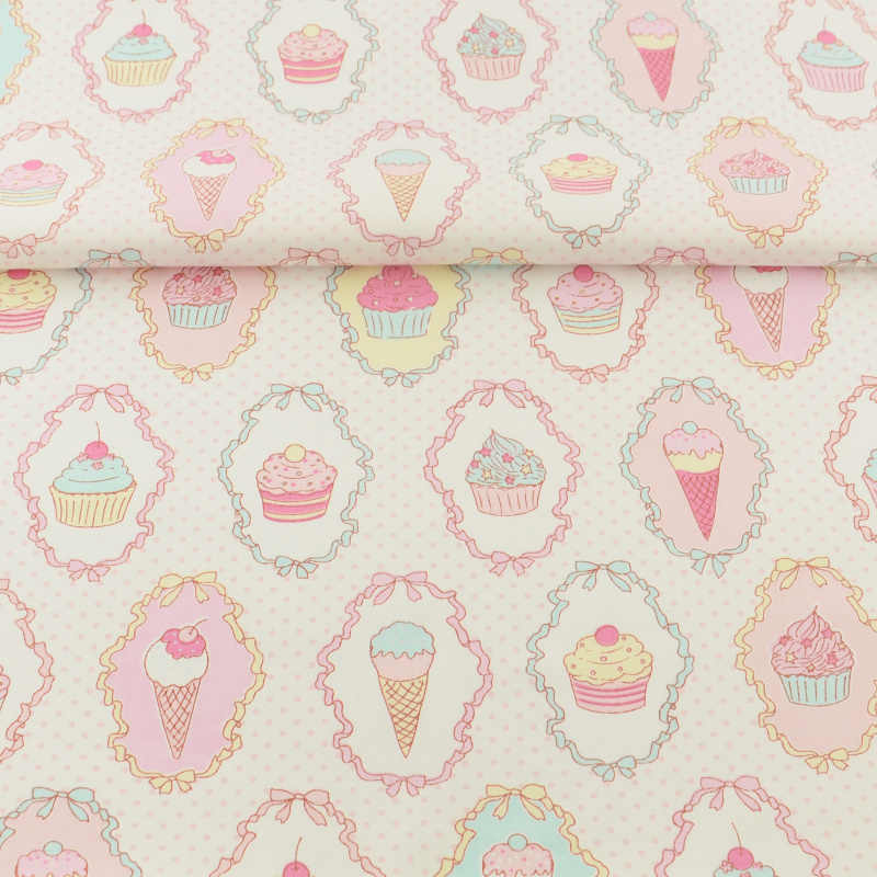 Booksew textile Cotton Fabric dye Scrapbooking Twill Pink Ice-cream Tecido DIY Sewing Patchwork algodon tissus au metre stoffen