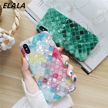 ELALA Glitter Phone Case For iPhone X Bling Dreamy Color Fish Scales Conch Shell XR XS Max 6 s 7 8 Plus IMD