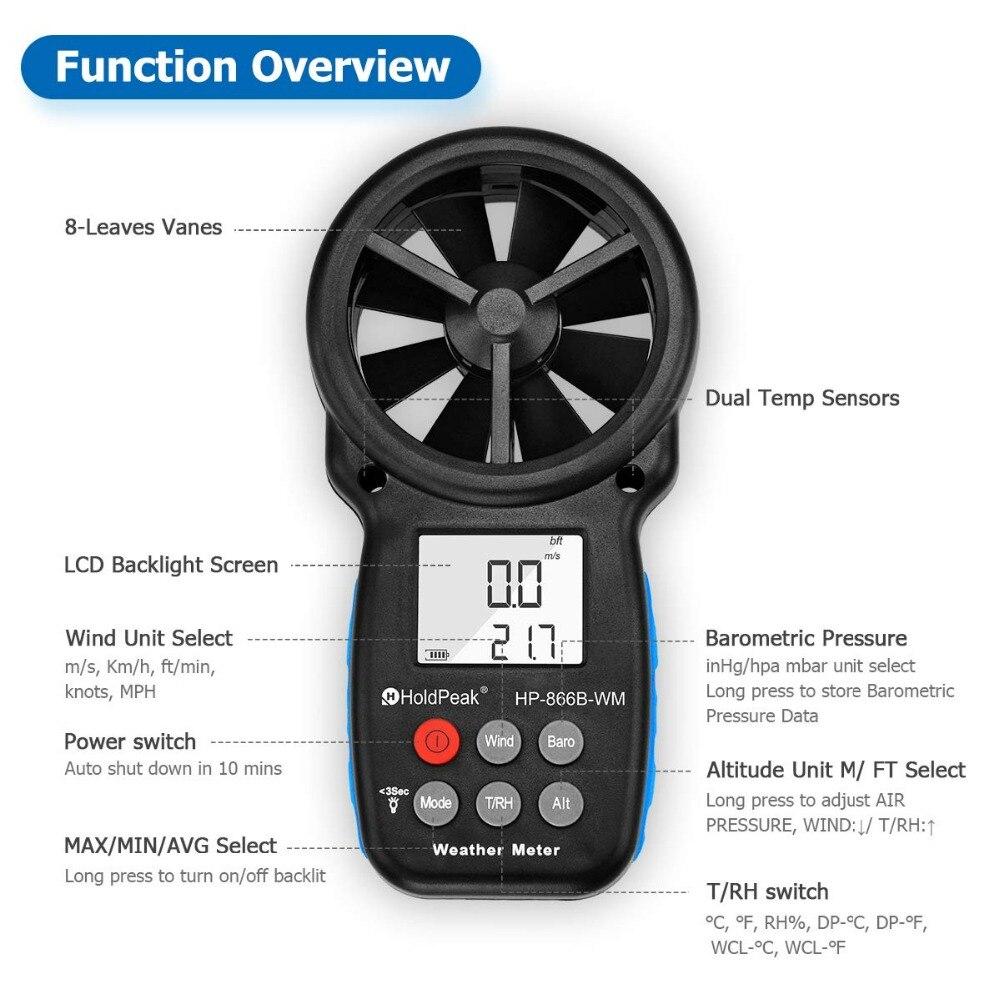 Anémomètre HoldPeak HP-866B-WM compteur de vitesse du vent capteur numérique tasse Anemometro 30 m/s LCD mesure à main outil humidité de l'air - 4