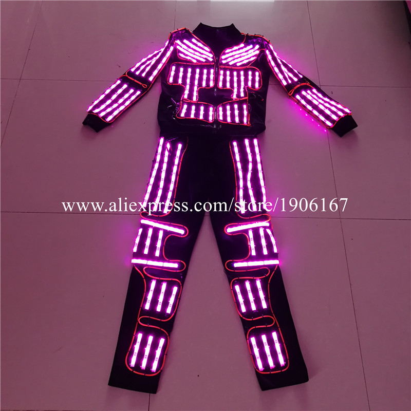 RGB Led Flashing Luminous Robot Suit Ballroom Costume EL Wire Light Up Dance Wear LED Stage