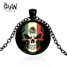 SIAN Mexican Style Skull Statement Necklace Mexican Flag Painting Glass Gem Long Necklace Halloween Gift Day of the Dead Jewelry(China)