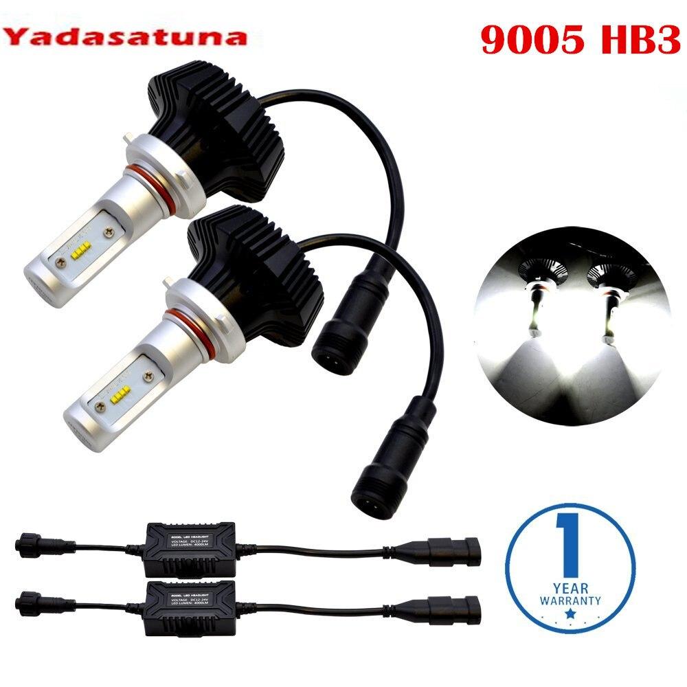 Un ensemble 9005 HB3 9006 HB3 9012 ampoules de phares LED automobile Lumi LED ZES LED Kit de Conversion 6000 k blanc froid sans erreur pour voiture