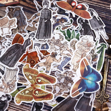 50Pcs/pack European Vintage Sticker Scrapbooking Creative DIY Bullet Journal Decorative Adhesive Label Fakes Stationery Supplies