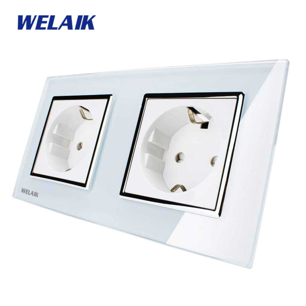 WELAIK  Glass Panel Wall Socket Wall Outlet White Black European Standard Power Socket AC110~250V A28E8EW/B dixinge high quality brand german standard socket wall socket tv outlet silvery were pc material panel b120 l134