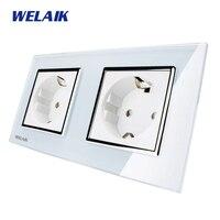 WELAIK Glass Panel Wall Socket Wall Outlet White European Standard Power Socket AC110 250V A28E8EW