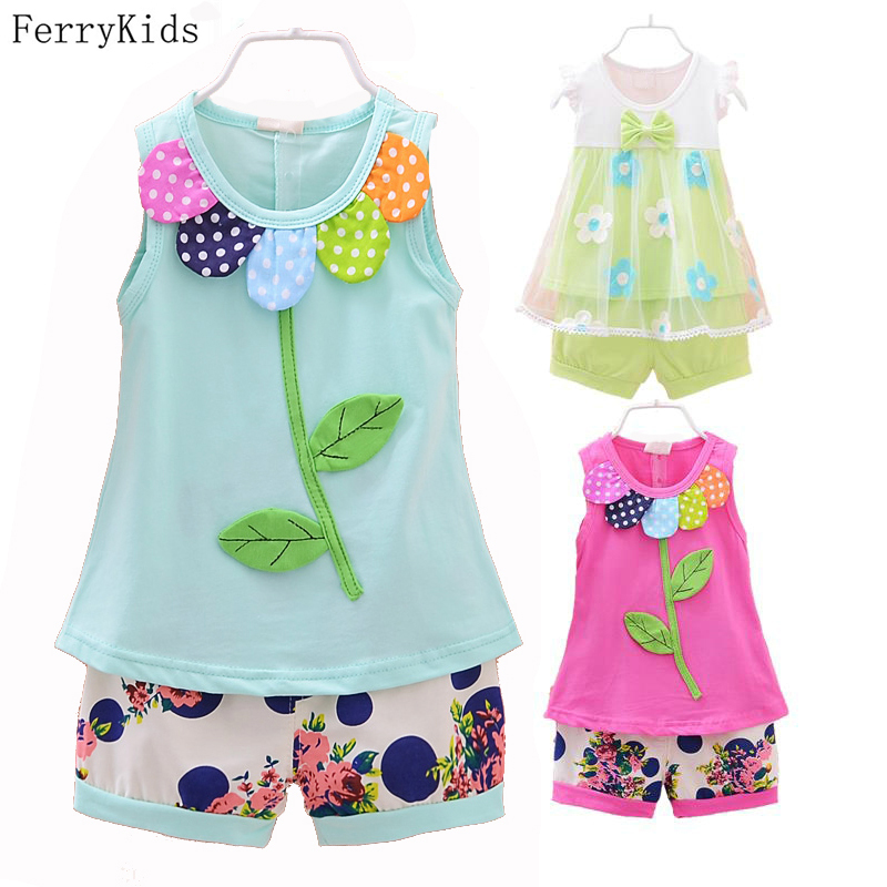 Baby Girls Clothing Sets Summer New 2015 Kids Clothes Set Sleeveless T shirt + shorts For Girls Outfits Flower Print Dot Minnie 2015 summer style girls clothes children clothing set girls clothing sets new family shorts shirt shorts belt ensemble fille